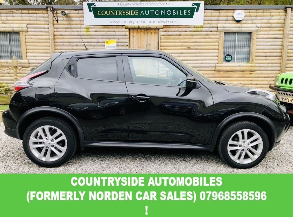 USED 2014 NISSAN JUKE 1.2 ACENTA PREMIUM DIG-T 5d 115 BHP Here we have a superb example of top specification Nissan Juke, Finished in metalic black with grey Alcantara suede interior, very good specification with Climate control with I.C.O.N. Driving modes, Reversing colour camera with Satellite navigation, Blue-tooth Media and AUX and also has the Nissan version of carplay with Apps along with Facebook, Eurosport etc. Stunning looking car with full bookpack, spare key and full  service History.