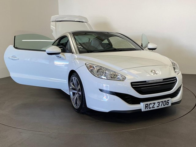 "USED 2015 PEUGEOT RCZ 2.0 HDI GT 2d 163 BHP Striking Opal Gloss white, Lama grey leather embossed seats extended to door inserts, 19"" Diamond cut alloy wheels,"