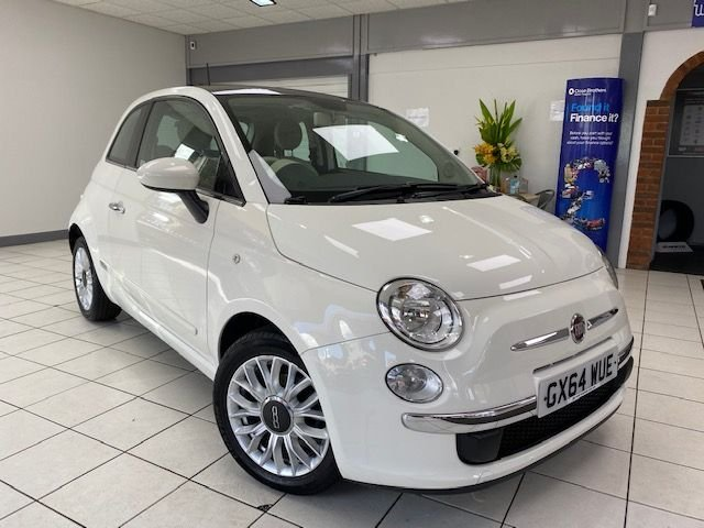 USED 2014 64 FIAT 500 1.2 LOUNGE DUALOGIC 3d 69 BHP WHITE / BLACK & GREY TRIM / ELECTRIC SKYDOME SUNROOF / ONLY 20690 MILES