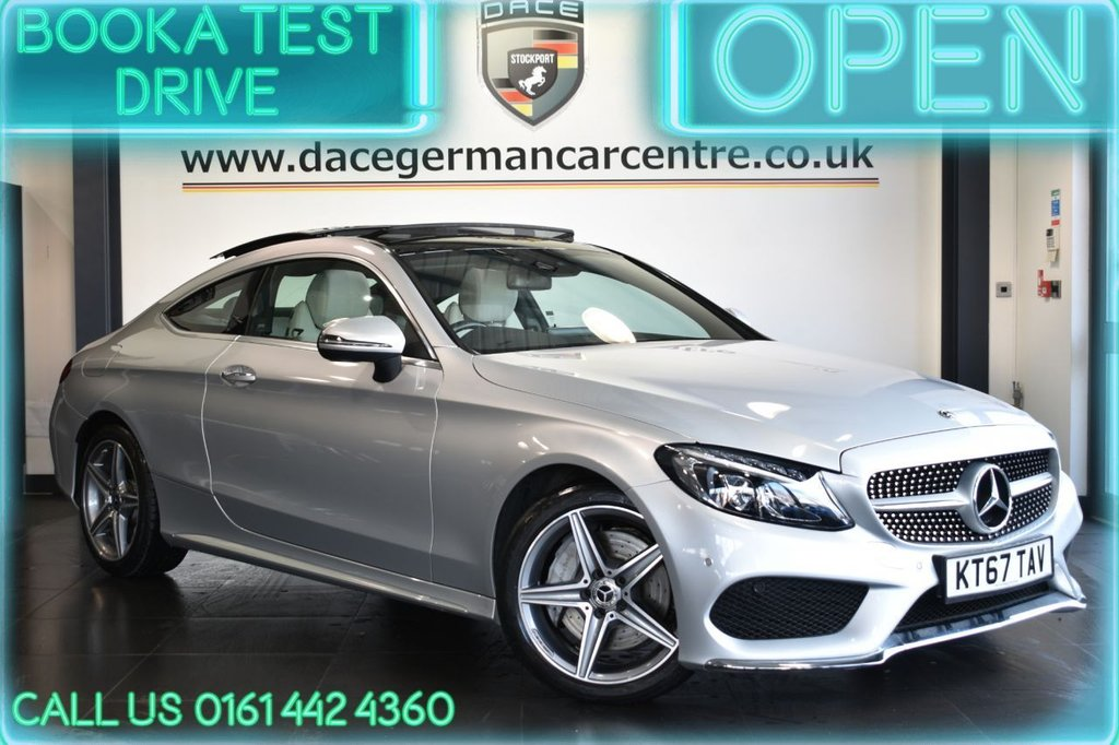 USED 2018 67 MERCEDES-BENZ C-CLASS 2.1 C 250 D AMG LINE PREMIUM PLUS 2DR AUTO 201 BHP LEATHER + NAV + PAN ROOF + HEATED SEATS + DAB