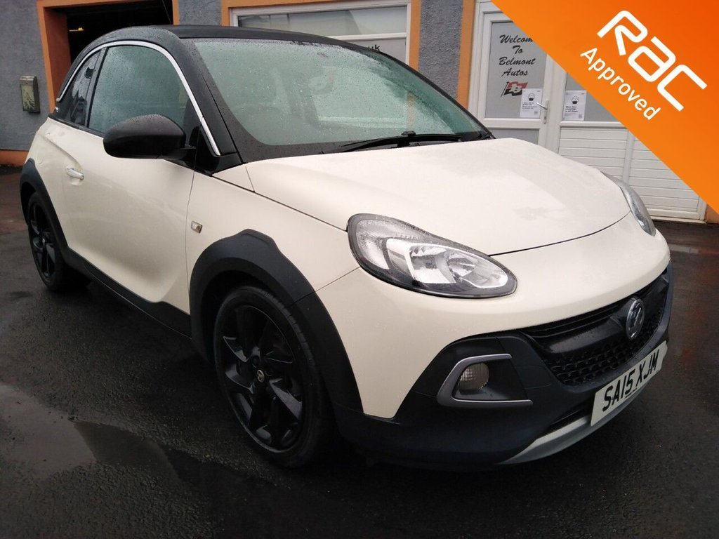 """USED 2015 15 VAUXHALL ADAM 1.2 ROCKS AIR 3d 69 BHP Electric Fold back Roof, 1\2 Leather Effect seating, Contrast stitching, Bluetooth, Floor Mats, Parking Sensors , 17"""" Black Alloys"""