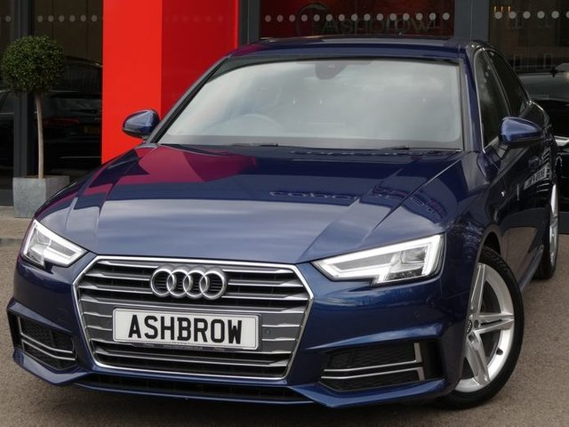 USED 2017 67 AUDI A4 2.0 TDI S LINE 4d AUTO 150 S/S FULL SERVICE HISTORY, 1 OWNER, SAT NAV, HEATED FRONT SEATS, AUDI SMART PHONE FOR APPLE CAR PLAY & ANDROID AUTO, DAB RADIO, CRUISE CONTROL WITH SPEED LIMITER, BLUETOOTH, FRONT & REAR PARKING SENSORS WITH DISPLAY, LEATHER ALCANTARA INTERIOR, SPORT SEATS WITH LUMBAR SUPPORT, LEATHER TIPTRONIC MULTIFUNCTION STEERING WHEEL (PADDLE SHIFT), LIGHT & RAIN SENSORS, AUDI DRIVE SELECT, KEYLESS START, AUX INPUT, 2x USB PORTS, CD WITH 2x SD CARD READERS & SIM CARD READER, ILLUMINATING VANITY MIRRORS, VAT Q