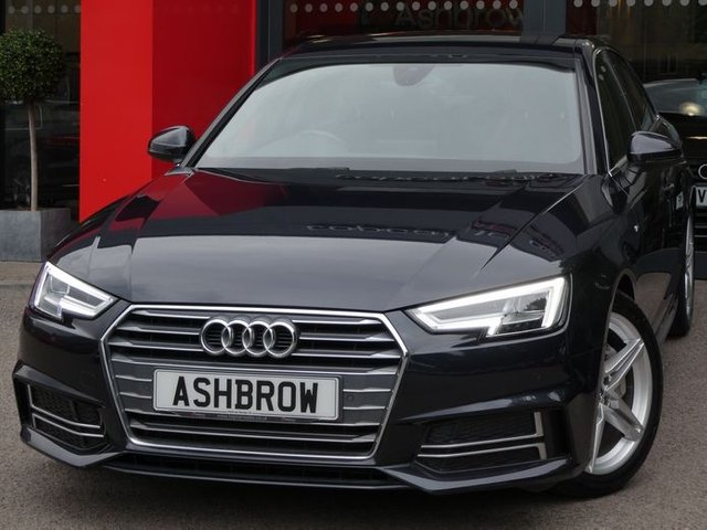 USED 2017 66 AUDI A4 2.0 TDI S LINE 4d 190 S/S FULL AUDI SERVICE HISTORY, £30 ROAD TAX, UPGRADE HDD SAT NAV WITH JUKEBOX & DVD PLAYBACK (MMI NAVIGATION PLUS), UPGRADE WIRELESS PHONE CHARGER IN ARM REST, FRONT & REAR PARKING SENSORS WITH DISPLAY, AUDI SMART PHONE WITH APPLE CAR PLAY & ANDROID AUTO, AUDI CONNECT, DAB RADIO, CRUISE CONTROL WITH SPEED LIMITER, BLUETOOTH PHONE & MUSIC, 18 INCH TWIN 5 SPOKE ALLOYS,  SPORT SEATS, LEATHER MULTIFUNCTION STEERING WHEEL, LIGHT & RAIN SENSORS, AUDI DRIVE SELECT, KEYLESS START, WIFI, AUX, 2x USB, VAT Q