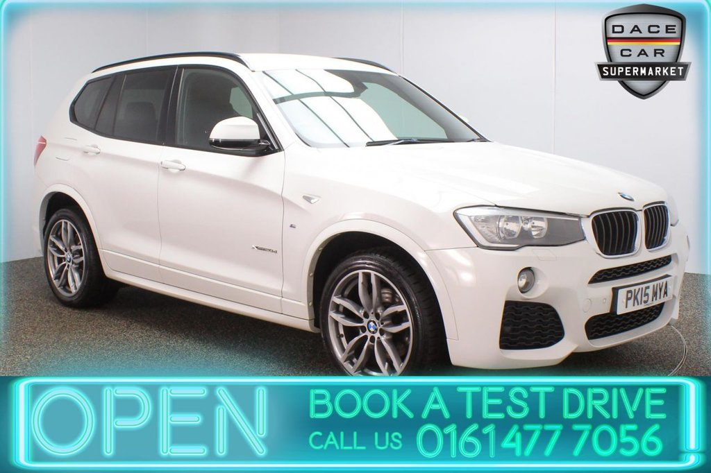 USED 2015 15 BMW X3 2.0 XDRIVE20D M SPORT 5DR AUTO 188 BHP FULL SERVICE HISTORY + HEATED LEATHER SEATS + SATELLITE NAVIGATION + PARKING SENSOR + BLUETOOTH + CRUISE CONTROL + CLIMATE CONTROL + DAB RADIO + AUX/USB PORTS + ELECTRIC WINDOWS + ELECTRIC/HEATED DOOR MIRRORS + 19 INCH ALLOY WHEELS