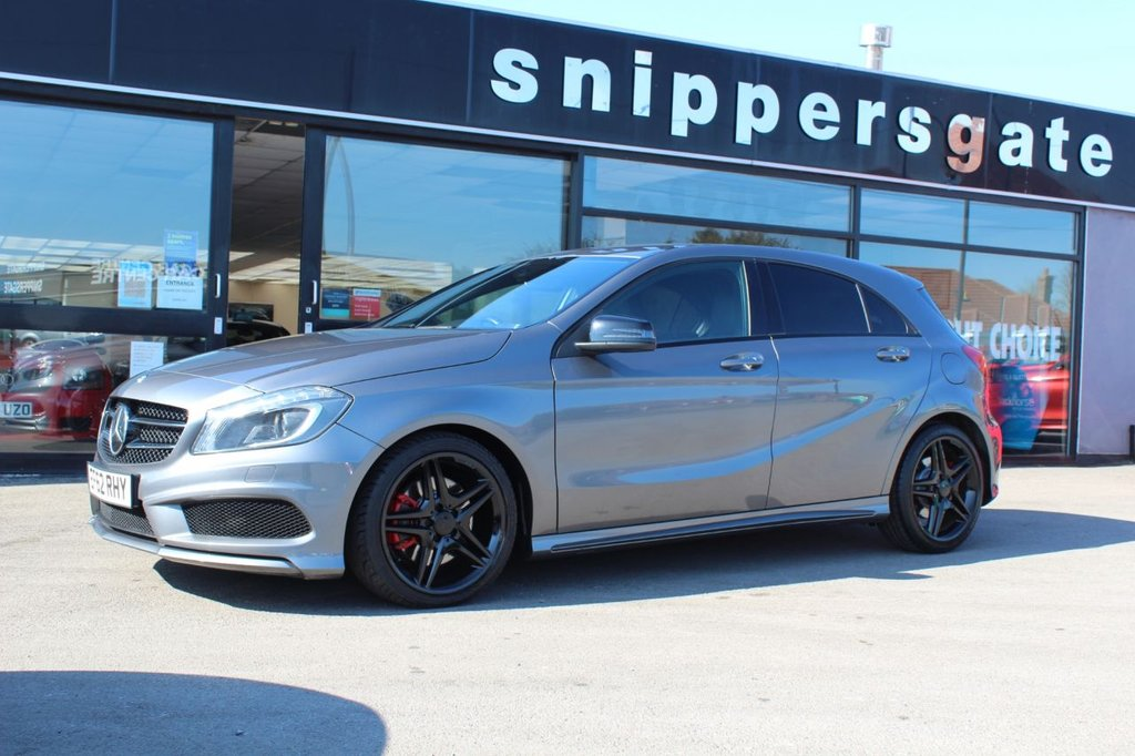 USED 2013 62 MERCEDES-BENZ A-CLASS 2.0 A250 BLUEEFFICIENCY AMG SPORT 5d 211 BHP Mountain Grey Metallic, 1 Previous Owner, AMG Styling Package, Night Package Privacy Glass, Bluetooth Interface For Handsfree Telephone, AMG Sports Package, Mirrors Package, Illumination Package, Electric Folding Mirrors, Auto Dimming Mirrors, Navibox  Preinstilation, Air Conditioning, Headlamp Cleaning Equipment, Leather Steering Wheel and Gear Shift Knob, Audio 20 Radio With CD Changer, Automatic High Beam Switch, DAB Radio, Rain Sensor, 7 Speed Automatic Dual Clutch, Cruise Control.