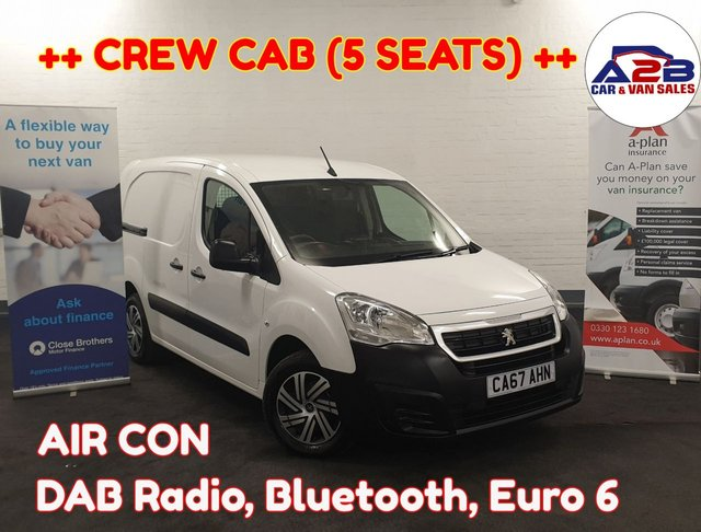 USED 2018 67 PEUGEOT PARTNER 1.6 BLUE HDI CREW CAB VAN 100 BHP ++long wheel base ++, Bluetooth, Air con, Dab radio, Euro 6, Ad blue, Electric Windows, Electric Mirrors and much more ... ++ READY TO DRIVE AWAY ++