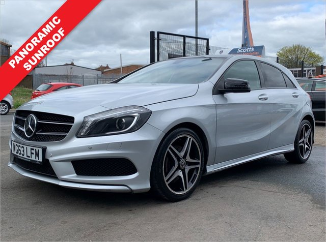 USED 2013 63 MERCEDES-BENZ A-CLASS 1.5 A180 CDI BLUEEFFICIENCY AMG SPORT 5 DOOR DIESEL SILVER PANROOF