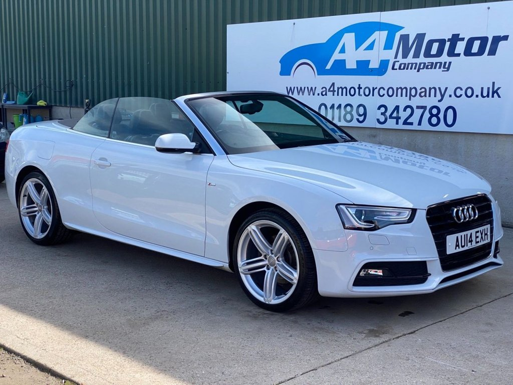 USED 2014 14 AUDI A5 2.0 TDI S line Special Edition Cabriolet 2dr WHITE ,CONVERTIBLE,SAT - NAV ,