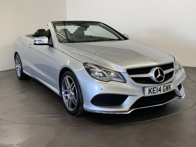 USED 2014 14 MERCEDES-BENZ E-CLASS 2.1 E220 CDI AMG SPORT 2d 170 BHP Extremely well cared for and maintained E-Class Convertible 170 BHP in striking irdium silver will contrasting full black leather , Amg diamond cut alloy wheels outstanding condition , FREE UK delivery supplied with 12 months mot ready for summer super stylish