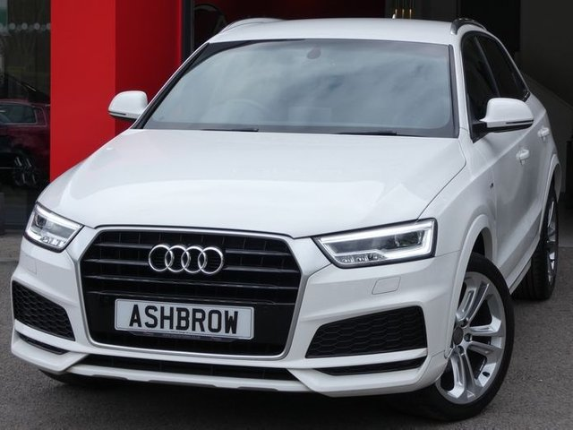 USED 2017 67 AUDI Q3 1.4 TFSI S LINE EDITION 5d 150 S/S UPGRADE 19 INCH OFFROAD DESIGN ALLOYS, UPGRADE PRIVACY GLASS, SAT NAV, FRONT & REAR PARKING SENSORS W/ DISPLAY, ELECTRIC HEATED POWER FOLDING DOOR MIRRORS, DAB RADIO, BLUETOOTH PHONE & MUSIC STREAMING, ELECTRIC TAILGATE, AUDI DRIVE SELECT, CRUISE CONTROL, MANUAL 6 SPEED GEARBOX, LED LIGHTS, DIRECTIONAL INDICATORS, SPORT SEATS WITH ELECTRIC LUMBAR SUPPORT, LEATHER MULTIFUNCTION STEERING WHEEL, AUTO LIGHTS & WIPERS & AUTO DIMMING REAR VIEW MIRROR, AMI, DUAL CLIMATE A/C, 1 OWNER, SERVICE HIST, VATQ