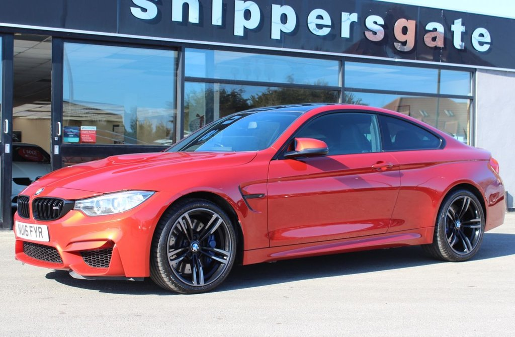USED 2016 16 BMW M4 3.0 M4 2d 426 BHP Sakhir Orange Metallic, Merino Black Leather, 1 Previous Owner, Head Up Display,  Harman/Kardon Music, Reversing Camera, Heated Seats, Comfort Telephony With Enhanced Smartphone, Park Distance Control, Rain and Light Sensors, Electric Seats With Memory, Sun Protection Glazing, Auto Dip Mirrors, Tyre Pressure Display, Adaptive M Chassis, BMW 437 Jet Black Alloys, Xenon Lights, DAD Tuner, Full BME Service History.