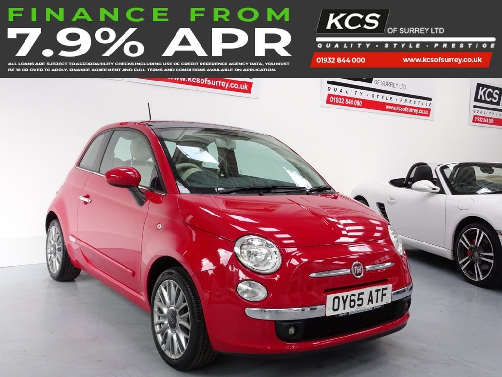 USED 2015 65 FIAT 500 1.2 LOUNGE 3d 69 BHP PAN ROOF - BLUE & ME