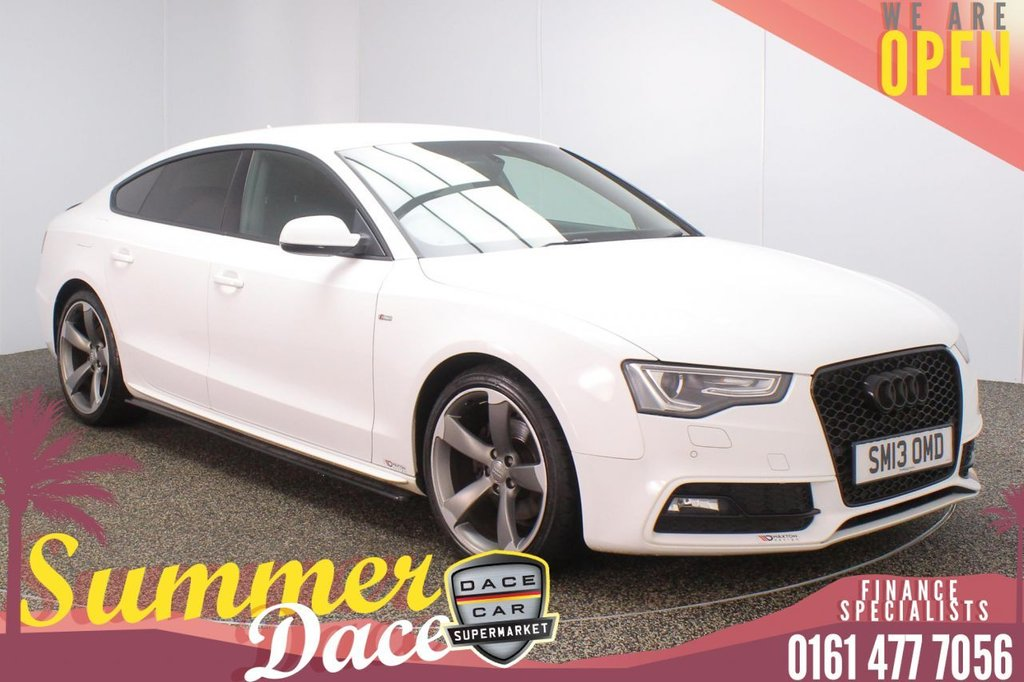 USED 2013 13 AUDI A5 2.0 SPORTBACK TDI BLACK EDITION S/S 5DR 175 BHP FULL SERVICE HISTORY + HEATED LEATHER SEATS + SATELLITE NAVIGATION + PARKING SENSOR + BLUETOOTH + CRUISE CONTROL + CLIMATE CONTROL + MULTI FUNCTION WHEEL + XENON HEADLIGHTS + PRIVACT GLASS + DAB RADIO + ELECTRIC WINDOWS + ELECTRIC/HEATED DOOR MIRRORS + 19 INCH ALLOY WHEELS