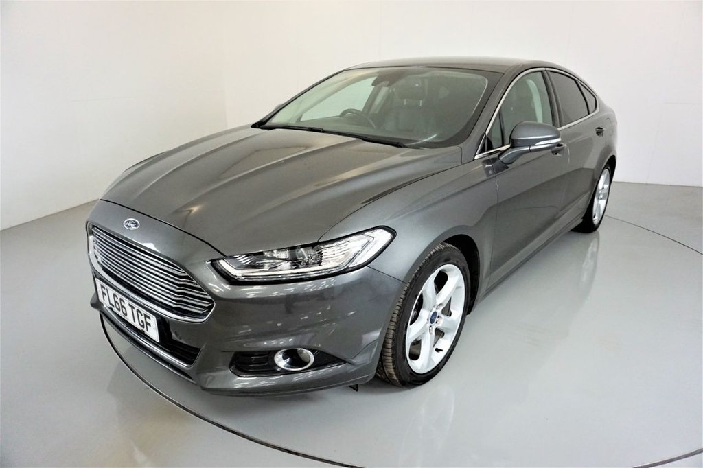 USED 2016 66 FORD MONDEO 2.0 TITANIUM TDCI 5d-2 OWNER CAR-30 ROAD TAX-BLUETOOTH-CRUISE CONTROL-SATNAV-PARKING SENSORS-BLACK LEATHER UPHOLSTERY-CLIMATE CONTROL-PRIVACY GLASS-ELECTRIC FOLDING MIRRORS-6 SPEED MANUAL