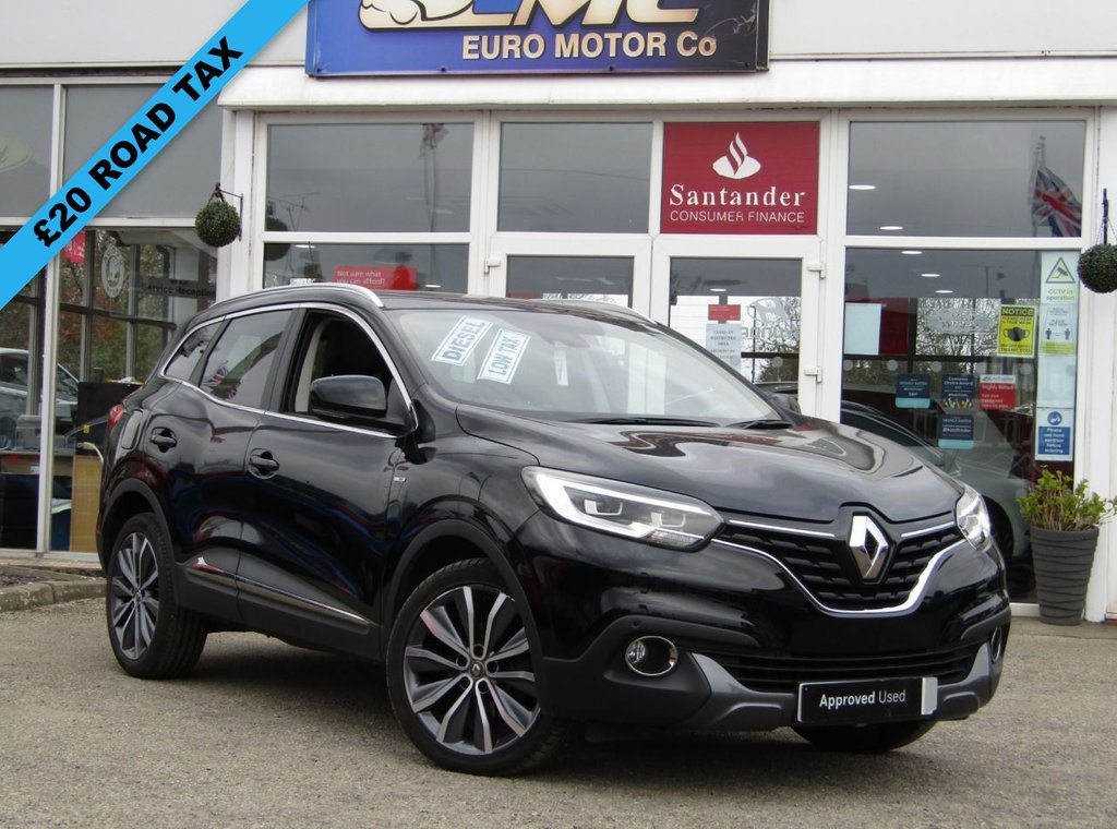 USED 2016 16 RENAULT KADJAR 1.5 SIGNATURE NAV DCI 5d 110 BHP Finished in DIAMOND BLACK with part LEATHER Trim. This Renault Kadjar is a spacious SUV that's perfect for the family. It looks stylish thanks to the swooping curves and creases that define the distinctive looks of the modern Renaults. Features include, £20 Road tax, Sat Nav, B/Tooth, DAB, Part Leather, Pan Roof and much more. Arnold Clark Renault Dealer serviced at 4829 miles,16384 miles, 25015 miles, 38069 (MOT) miles and at 43471 miles.