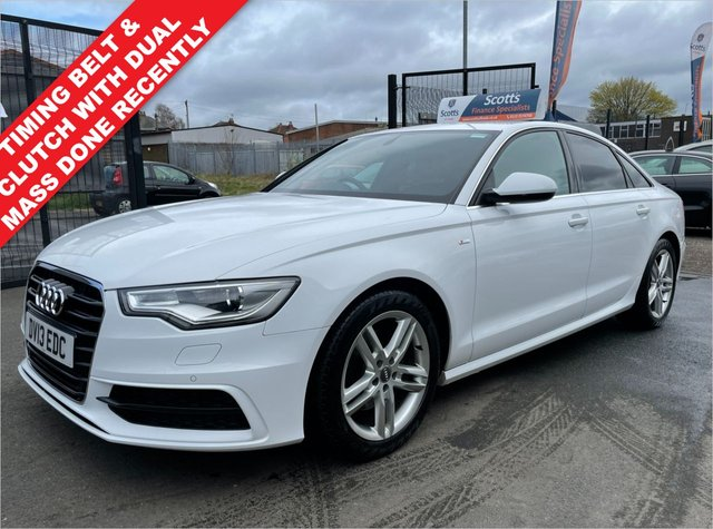 USED 2013 13 AUDI A6 2.0 TDI S LINE 4 DOOR DIESEL WHITE TIMING BELT DONE HEATED LEATHER