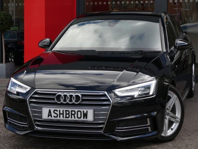 USED 2017 67 AUDI A4 2.0 TDI S LINE 4d 150 S/S FULL AUDI SERVICE HISTORY, 1 OWNER, SAT NAV, AUDI SMART PHONE WITH APPLE CAR PLAY & ANDROID AUTO, AUDI CONNECT, DAB RADIO, CRUISE CONTROL WITH SPEED LIMITER, LED DAYTIME RUNNING LIGHTS, BLUETOOTH PHONE & MUSIC STREAMING, FRONT & REAR PARKING SENSORS WITH DISPLAY, DIRECTIONAL INDICATORS, MANUAL 6 SPEED GEARBOX, 18 INCH ALLOYS, LEATHER MULTIFUNCTION STEERING WHEEL, LIGHT & RAIN SENSORS, AUDI DRIVE SELECT, KEYLESS START, AUX & USB, ILLUMINATING VANITY MIRRORS, EFFICIENCY ASSIST, PRE SENSE, VAT Q