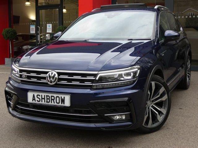 USED 2018 18 VOLKSWAGEN TIGUAN 2.0 TDI R-LINE BMT 4MOTION DSG 5d 190 S/S PANORAMIC GLASS SUNROOF, VIRTUAL COCKPIT, SAT NAV, APP CONNECT FOR APPLE CAR PLAY / ANDROID AUTO, HEATED FRONT SEATS, ADAPTIVE CRUISE CONTROL, LANE ASSIST WITH ADAPTIVE LANE GUIDANCE, FRONT ASSIST, DYNAMIC ROAD SIGN DISPLAY, DAB RADIO, BLUETOOTH, AUX & USB,  FRONT & REAR PARKING SENSORS, 20 INCH ALLOYS, AUTO LIGHTS & WIPERS, AUTO HOLD, ELECTRIC FOLDING HEATED DOOR MIRRORS, LEATHER TIPTRONIC FLAT BOTTOM MULTIFUNCTION STEERING WHEEL, CLIMATE A/C, 1 OWNER, SERVICE HISTORY, BALANCE OF VW WARRANTY