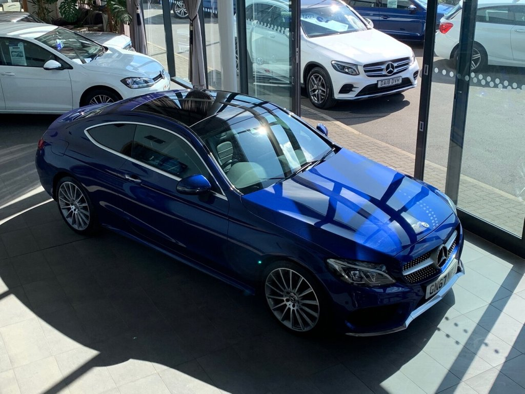 USED 2017 67 MERCEDES-BENZ C-CLASS 2017/67 + 2.1 C 220 D AMG LINE PREMIUM PLUS 2d 168 BHP + AUTOMATIC + FULL BLACK LEATHER + PANORAMIC GLASS ROOF