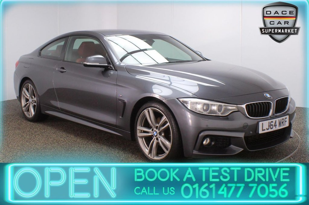 USED 2014 64 BMW 4 SERIES 2.0 420D M SPORT 2DR AUTO 181 BHP SERVICE HISTORY + HEATED LEATHER SEATS + SATELLITE NAVIGATION + PARKING SENSOR + BLUETOOTH + CRUISE CONTROL + CLIMATE CONTROL + MULTI FUNCTION WHEEL + XENON HEADLIGHTS + DAB RADIO + ELECTRIC WINDOWS + ELECTRIC DOOR MIRRORS + 19 INCH ALLOY WHEELS