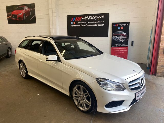 USED 2015 15 MERCEDES-BENZ E-CLASS 2.1 E250 CDI AMG LINE 5d 201 BHP PAN ROOF SAT NAV DAB FULL LEATHERS PEARL WHITE