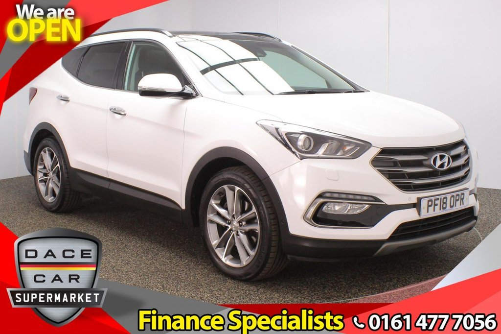 USED 2018 18 HYUNDAI SANTA FE 2.2 CRDI PREMIUM SE BLUE DRIVE 7 SEATS 5DR AUTO 197 BHP FULL SERVICE HISTORY + 7 SEATS + AIR CON LEATHER SEATS + SATELLITE NAVIGATION + PANORAMIC SUNROOF + REVERSING CAMERA + PARK ASSIST + PARKING SENSOR + LANE ASSIST SYSTEM + BLIND SPOT MONITORING + HEATED REAR SEATS + HEATED STEERING WHEEL + BLUETOOTH + CRUISE CONTROL + CLIMATE CONTROL + MULTI FUNCTION WHEEL + XENON HEADLIGHTS + PRIVACY GLASS + ELECTRIC/MEMORY FRONT SEATS + DAB RADIO + AUX/USB PORTS + ELECTRIC WINDOWS + ELECTRIC/HEATED/FOLDING DOOR MIRRORS + 19 INCH ALLOY WHEELS