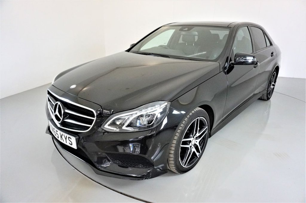 USED 2015 65 MERCEDES-BENZ E-CLASS 3.0 E350 BLUETEC AMG NIGHT EDITION PREMIUM 4d-PANORAMIC SUNROOF-HEATED BLACK LEATHER-BLUETOOTH-CRUISE CONTROL-SATNAV-PARKING SENSORS-REVERSE CAMERA-ELECTRIC FOLDING MIRRORS-ELECTRIC MEMORY SEATS-CLIMATE CONTROL-GREAT MERCEDES SERVICE HISTORY