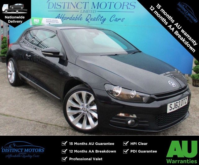 USED 2013 63 VOLKSWAGEN SCIROCCO 2.0 GT TDI BLUEMOTION TECHNOLOGY 2d 140 BHP HEATED BLACK LEATHER+SAT-NAV