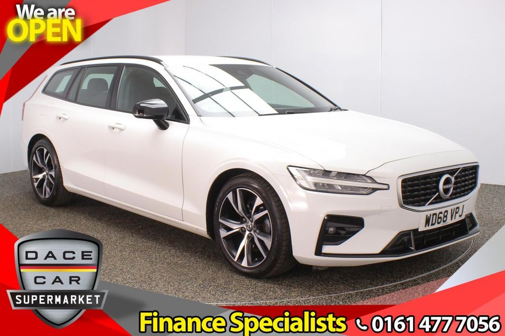 USED 2019 68 VOLVO V60 2.0 D3 R-DESIGN 5DR 1 OWNER AUTO 148 BHP FULL SERVICE HISTORY + HALF LEATHER SEATS + SATELLITE NAVIGATION + PARKING SENSOR + BLUETOOTH + CRUISE CONTROL + CLIMATE CONTROL + MULTI FUNCTION WHEEL + HEATED STEERING WHEEL + XENON HEDLIGHST + DAB RADIO + USB PORT + ELECTRIC WINDOWS + ELECTRIC/HEATED/FOLDING DOOR MIRRORS + 18 INCH ALLOY WHEELS
