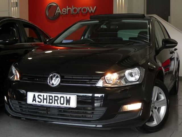 USED 2016 66 VOLKSWAGEN GOLF 1.4 TSI MATCH EDITION BMT 5d 125 S/S £30 ROAD TAX, 1 OWNER FROM NEW, FULL SERVICE HISTORY, U/G GLASS TILT / SLIDE PAN ROOF, U/G DEEP BLACK PEARL EFFECT,SAT NAV, HEATED FRONT SEATS, FRONT & REAR PARKING SENSORS W/ DISPLAY (PARK PILOT), ADAPTIVE CRUISE CONTROL (ACC), FRONT ASSIST (AMBIENT TRAFFIC MONITORING SYSTEM), DAB RADIO, BLUETOOTH W/ AUDIO STREAMING,USB + AUX INPUTS,16 INCH 5 SPOKE ALLOYS,GREY CLOTH INTERIOR,FRONT FOGS,ELEC HEATED POWER FOLDING MIRRORS,LEATHER FLAT BOTTOM MULTI FUNCTION STEERING WHEEL,LIGHT & RAIN SENSOR,VAT Q.