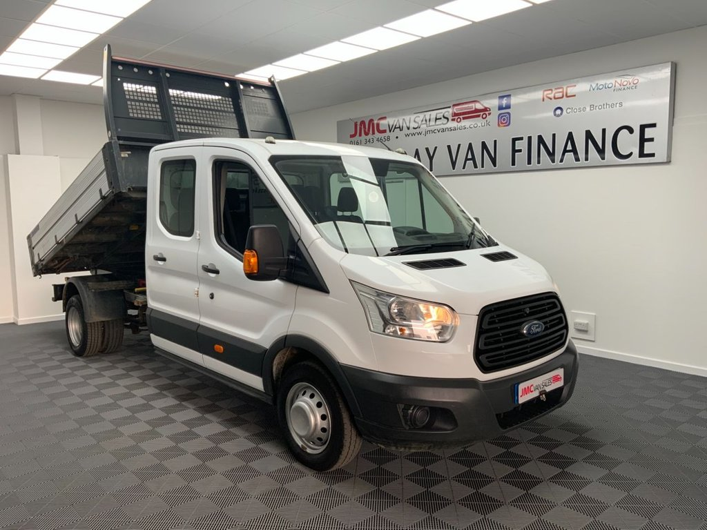 USED 2016 16 FORD TRANSIT 2.2 350 L3 CREW CAB TWIN WHEEL TIPPER 125 BHP 7 SEATER TIPPER CHOICE IN STOCK