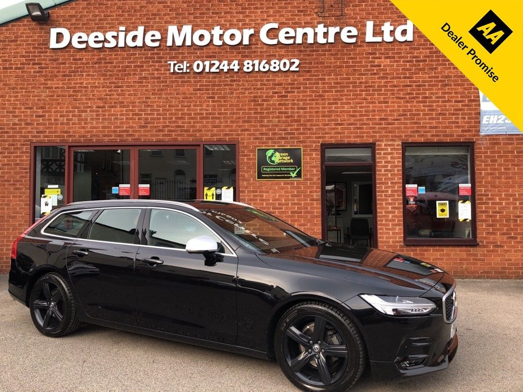 USED 2018 18 VOLVO V90 2.0 D4 R-DESIGN 5d 188 BHP Bluetooth : Sat Nav : DAB Radio : R-Design contrasting leather upholstery/steering wheel : Electrically adjustable front seats : Heated front seats/screen : Air-conditioning : Cruise control : Auto headlights/wipers : Optional paddleshift controls : Eco/Comfort/Dynamic driving modes : Lane keeping aid :    Speed sign assist   :   Road sign information   :   Front + rear parking sensors   :        Remotely operated tailgate
