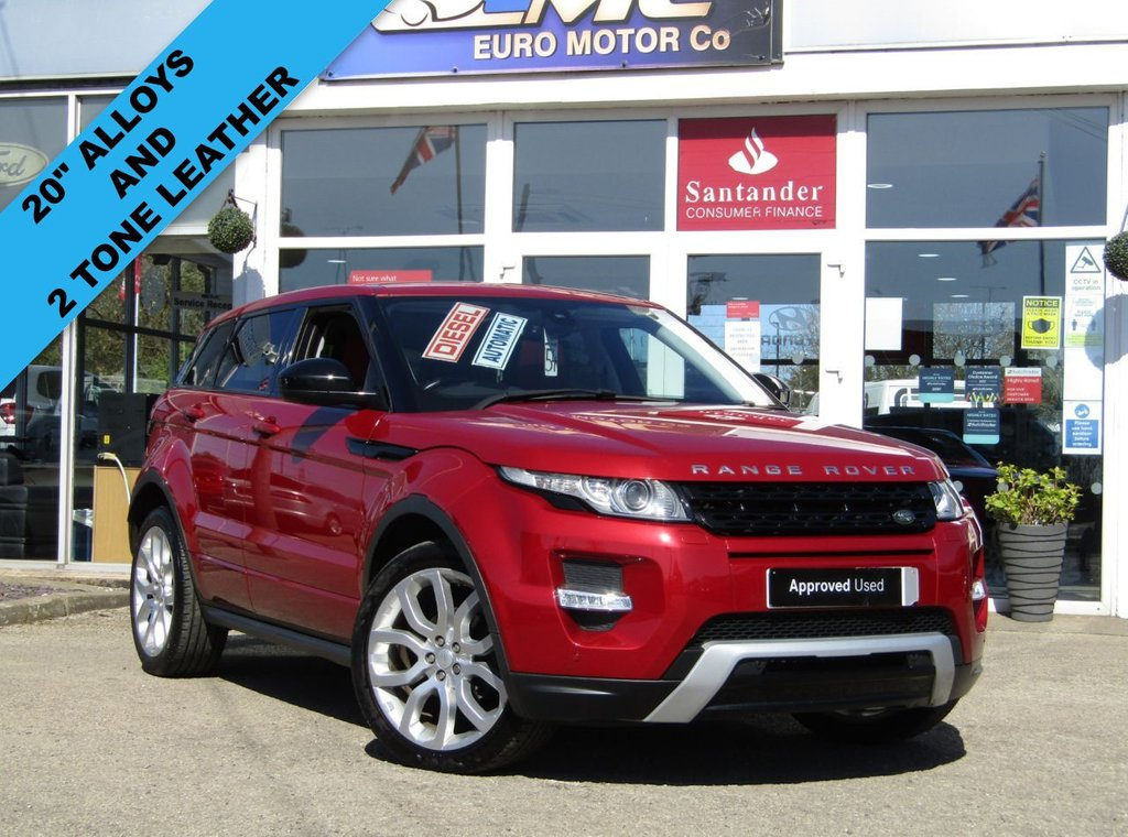 """USED 2015 15 LAND ROVER RANGE ROVER EVOQUE 2.2 SD4 DYNAMIC 5d 190 BHP Finished in FIRENZE RED MET with contrasting EBONY AND REDHEATED LEATHER Trim. This high spec Evoque comes from one of the most desirable brands on the market today. It is great looking, Fun to drive and a comfortable SUV that has features which include, PANORAMIC SUNROOF, DAB, 20"""" ALLOYS, SAT NAV, REAR VIEW CAMERA, HEATED LEATHER SEATS, POWER FOLDING MIRRORS and much more. SINCLAIR LAND ROVER DEALER SERVICED AT 15162 miles, 25904 miles, 38604 miles, 55443 miles and at 60386 miles on 14/1/2021"""