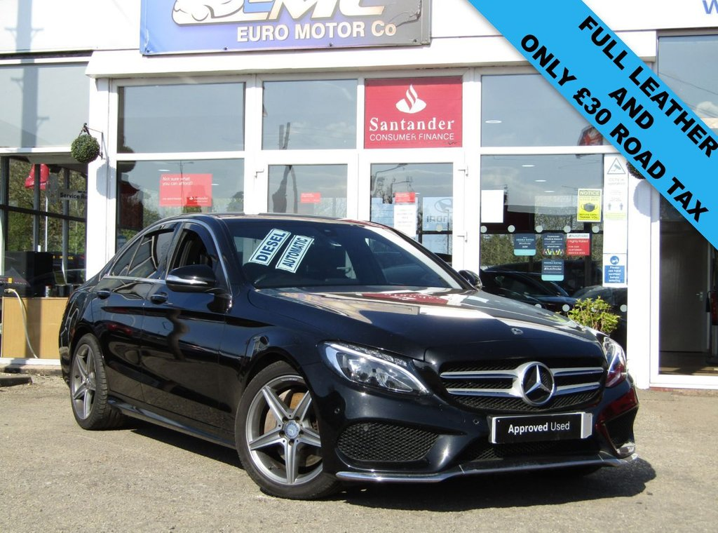 USED 2015 65 MERCEDES-BENZ C-CLASS 2.1 C250 BLUETEC AMG LINE PREMIUM 4d 204 BHP Finished in OBSIDIAN BLACK with contrasting EBONY LEATHER electric seats. This dynamic looking saloon has some great extras. It is sporty and agile and great fun to drive. Features include, PANORAMIC SUN ROOF, £30 ROAD TAX, Sat Nav, Electric leather seats, DAB radio, Cruise Control, Reverse Cameras, Alloys and much more. Mercedes Dealer Serviced at 13919 miles, 24285 miles, 29145 miles, 34831 miles and recently at 40326 miles.