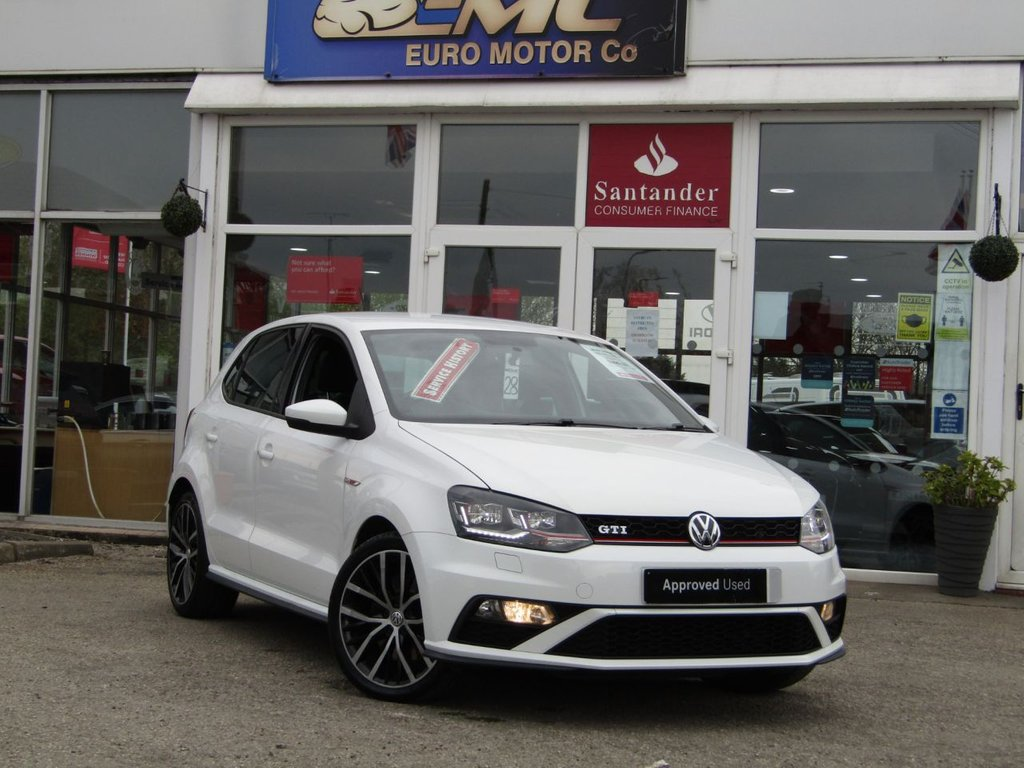 """USED 2016 16 VOLKSWAGEN POLO 1.8 GTI 5d 189 BHP Finished in PURE WHITE with contrasting retro cloth trim. This Polo is quick and great fun to drive. The Polo is one of the best selling and popular small cars around. It is very comfortable and practical, with a distinct upmarket feel to it. Features include 17"""" Alloys, DAB, 2 Keys, B/Tooth, Daytime Run Lights and much more. Dealer serviced at 19306 miles, 34600 miles, 41378 miles and on arrival at 53160 miles. MOT due 22/04/2022."""