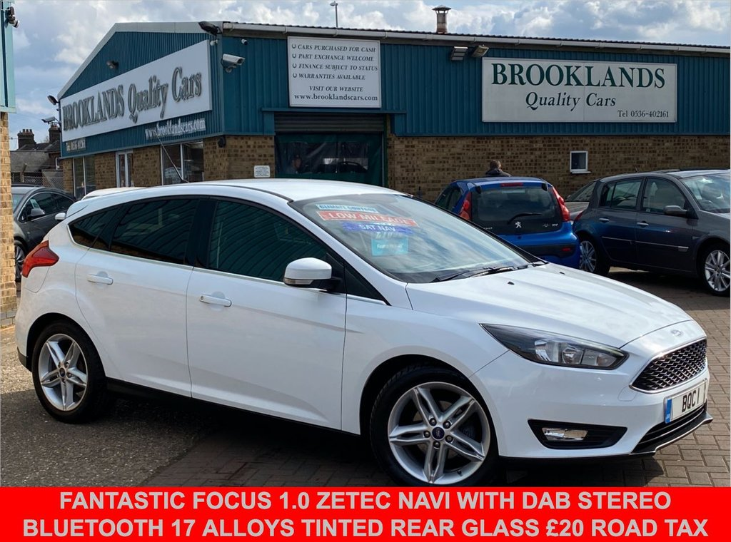 USED 2015 15 FORD FOCUS 1.0 ZETEC 5 Door Frozen White 124 BHP Fantastic Focus 1.0 Zetec Navi with DAB Stereo Bluetooth 17 Alloys Tinted rear Glass £20 Road Tax