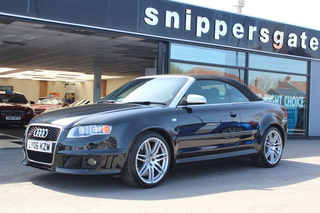 USED 2006 02 AUDI RS4 CABRIOLET 4.2 RS4 QUATTRO 2d 420 BHP Phanton Black, RS Bucket Seats, Previously Supplied By Ourselves in 2016 and Pleased to be Back Into Stock With Us. All 4 DRC Shock Absorbers Control Pipes and Fittings Replaced at 47823 Miles, Black Silk Nappa Leather, Heated Front and Rear Seats GSM Mobile Telephone Preparation, Interior Mirror With Any Glare Action, Automatic Air Recirculation, Daytime Running Lights, 2 Keys and Book Pack, Full Service History.