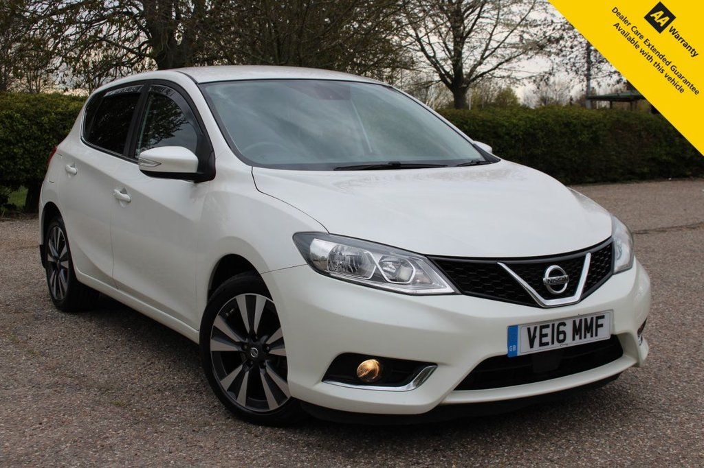 "USED 2016 16 NISSAN PULSAR 1.5 N-CONNECTA DCI 5d 110 BHP ** FULL MAIN DEALER NISSAN SERVICE HISTORY ** LONG ADVISORY FREE MOT ** UPGRADED PEARL PAINT ** SAT NAV ** REAR CAMERA ** HALF LEATHER ** DAB RADIO ** CLIMATE CONTROL ** BLUETOOTH ** CRUISE CONTROL ** AUTO LIGHTS + WIPERS ** KEYLESS ENTRY + POWER START ** 17"" DIAMOND CUT ALLOY WHEELS ** £0 ROAD TAX - 75+ MPG ** ULEZ CHARGE EXEMPT ** BUY ONLINE IN CONFIDENCE FROM A MULTI AWARD WINNING 5* RATED DEALER **"