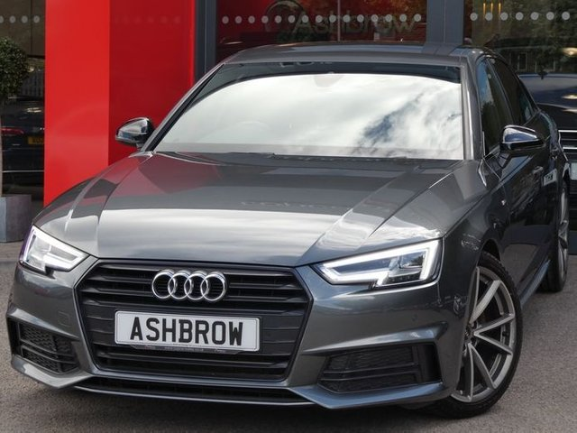 USED 2018 18 AUDI A4 1.4 TFSI BLACK EDITION 4d AUTO 150 S/S UPGRADE ELECTRIC FOLDING HEATED MIRRORS, SAT NAV, HEATED FRONT SEATS, 19 INCH ALLOYS, AUDI SMART PHONE FOR APPLE CARPLAY & ANDROID AUTO, LEATHER FLAT BOTTOM TIPTRONIC MULTIFUNCTION STEERING WHEEL, DAB RADIO, LED DAYTIME RUNNING LIGHTS, BLUETOOTH PHONE & MUISC, FRONT & REAR PARKING SENSORS WITH DISPLAY, BLACK GRILLE OPTIC, PRIVACY GLASS, ALUMINIUM PEDALS, BLACK LEATHER ALCANTARA, SPORT SEATS WITH LUMBAR SUPPORT, LIGHT & RAIN SENSORS, AUDI DRIVE SELECT, 3 ZONE CLIMATE CONTROL, AUDI PRE SENSE, VATQ