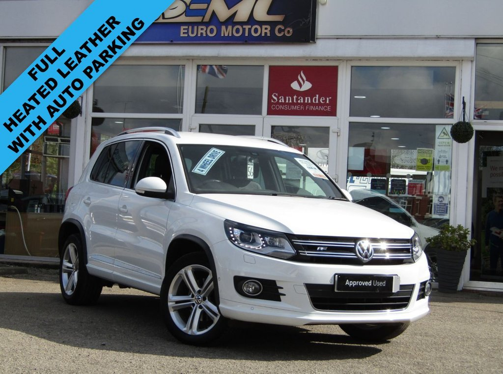 USED 2016 16 VOLKSWAGEN TIGUAN 2.0 R LINE EDITION TDI BMT 4MOTION 5d 148 BHP Finished in PURE WHITE with contrasting HEATED EBONY LEATHER trim. This high spec Tiguan has a more sophisticated look to add to its high quality interior and high spec. In short this Tiguan is spacious, comfortable and great to drive, while its raised driving position gives you a great view. Features include, Full Heated Leather, Sat Nav, DAB Radio, Auto Parking, Front and Rear Park Sensors and much more. Dealer serviced at 7255 miles and 18410 miles. Serviced on arrival at 42370 miles by EMC