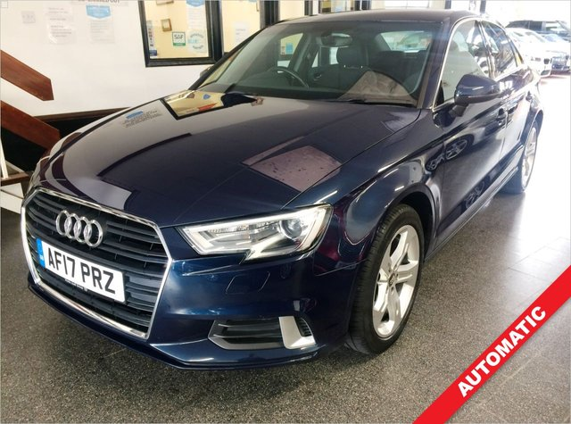 """USED 2017 17 AUDI A3 1.4 TFSI SPORT 4d 148 BHP This £30 Tax Petrol Automatic A3 4 door saloon is finished in metallic cosmos blue with Black cloth seats. It is fitted with power steering, Audi Satellite Navigation, media port, DAB, remote locking, electric windows and mirrors, dual climate control, LED day lights, Xenon headlights, Rear Park Assist, space saver spare wheel, Bluetooth, drive mode, 5 spoke 17"""" alloy wheels and more. It has comes with a full Audi service history in the form of a digital printout done at 19502/32629/36113 miles."""
