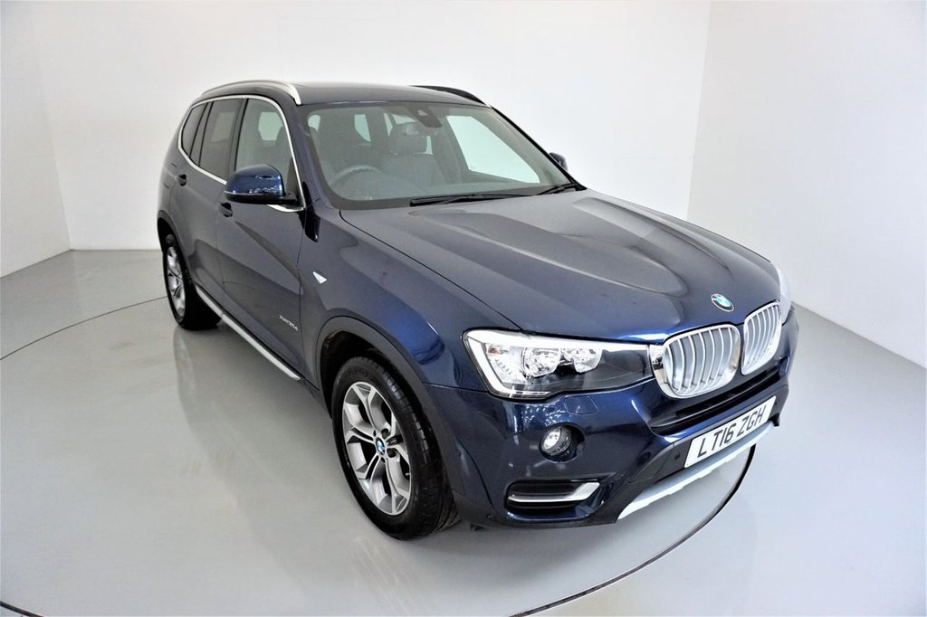 USED 2016 16 BMW X3 3.0 XDRIVE30D XLINE 5d AUTO-2 OWNER CAR-PANORAMIC ROOF-HEATED BLACK NEVADA LEATHER-BLUETOOTH-CRUISE CONTROL-PROFESSIONAL NAVIGATION-PARKING SENSORS-REVERSE CAMERA-DAB RADIO-ELECTRIC MEMORY SEAT-POWER TAILAGTE-CLIMATE CONTROL
