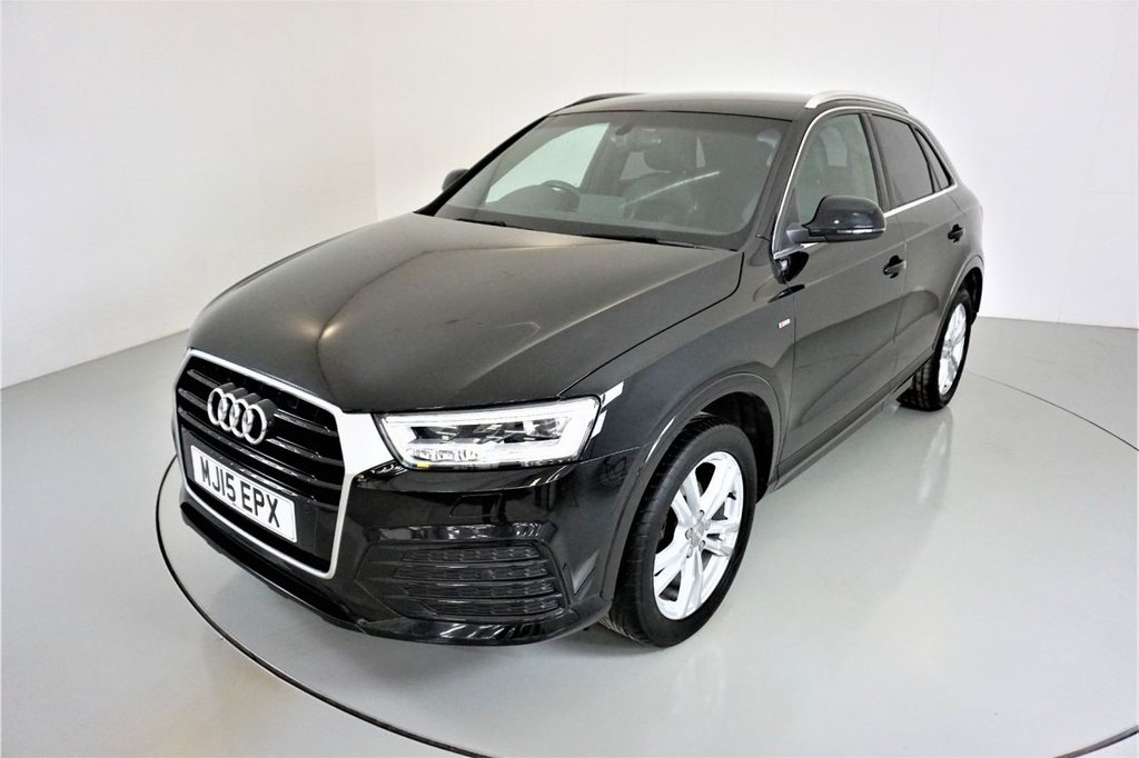 USED 2015 15 AUDI Q3 2.0 TDI S LINE 5d-2 OWNER CAR-DAB RADIO-6 SPEED MANUAL-BLUETOOTH-CRUISE CONTROL-PARKING SENSORS-HEATED HALF LEATHER-CLIMATE CONTROL-4 NEW TYRES