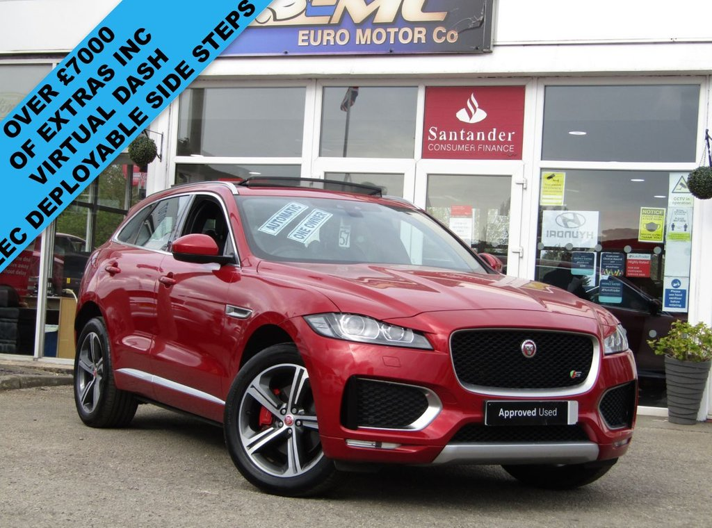 USED 2016 66 JAGUAR F-PACE 3.0 V6 S AWD 5d 375 BHP Finished in FIRENZE RED PEARL with contrasting Full HEATED LEATHER. £1000' s extra spec, find another on sale today. This handsome SUV is both fun to drive and practical. Features include Virtual Dash, Electric deployable side steps, Panoramic Electric Sun Roof, Sat Nav, Electric Boot, Heated Front and Rear Leather Seats, DAB, Led Lights and much more. Serviced by Grange Jaguar, Brentford at 17698 miles, 32467 miles, Beadles Southend at 56093 miles, 67482 miles and recently at 72946 miles.