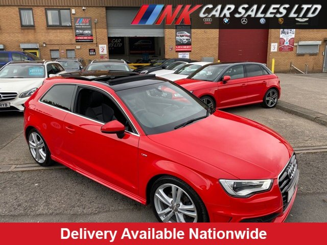 USED 2015 15 AUDI A3 2.0 TDI S LINE 3d 148 BHP OPENING PAN ROOF FULL LEATHERS LOW MILEAGE  HEATED SEATS SAT NAV