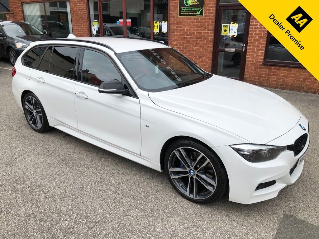 USED 2017 67 BMW 3 SERIES 2.0 320D M SPORT SHADOW EDITION TOURING 5d 188 BHP Bluetooth : Sat Nav : DAB Radio : Red leather upholstery : Heated front seats : Isofix fittings : Air-conditioning/Climate control : Cruise control/Speed limiter : Auto headlights/wipers :   BMW Eco Pro/Comfort/Sport/Sport+ mode settings   :   Harman/Kardon sound system   :    Rear parking sensors  :  Remotely operated tailgate  :  Cargo/Load cover