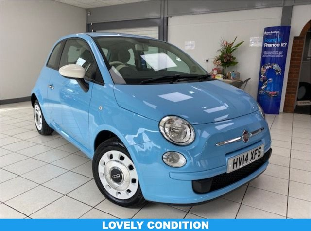 USED 2014 14 FIAT 500 1.2 COLOUR THERAPY 3d 69 BHP VOLARE BLUE / CLOTH TRIM / CD TUNER / MULTIPLE AIRBAGS / SERVICE HISTORY