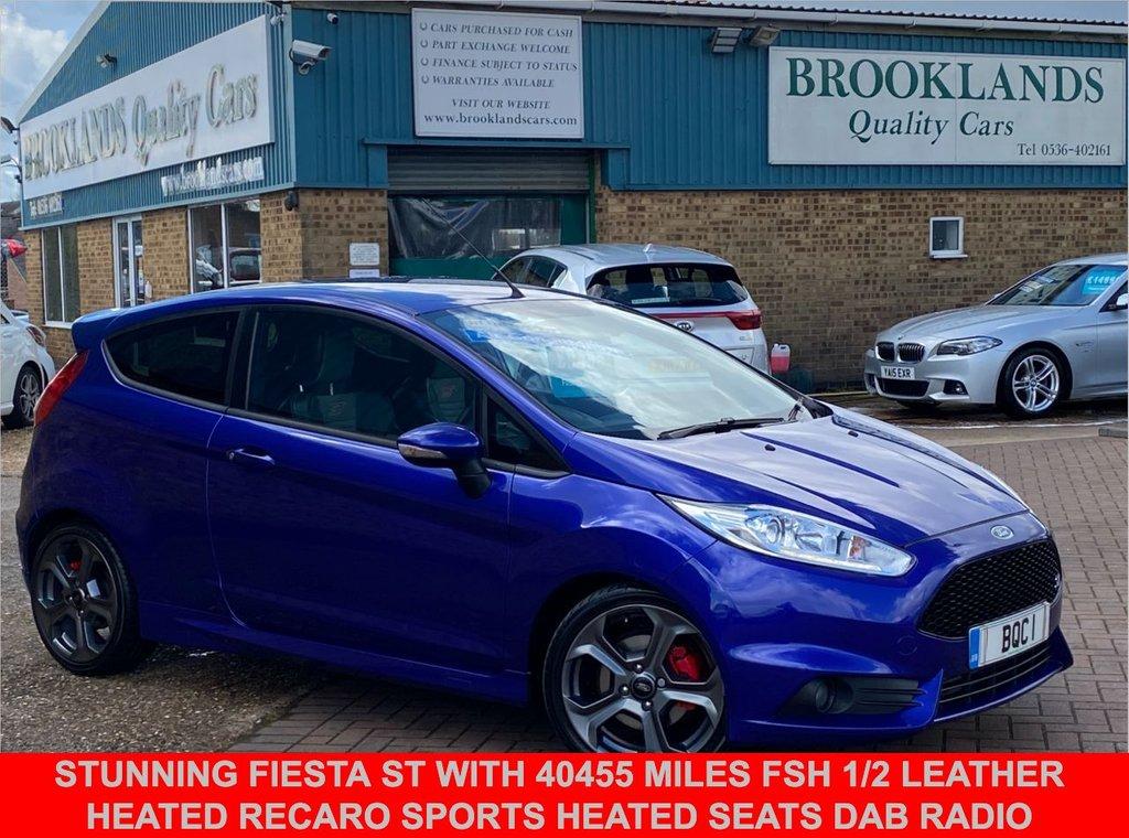 USED 2017 66 FORD FIESTA 1.6 ST-2 3 Door Spirit Blue Metallic 180 BHP Stunning Fiesta ST with 40455 miles FSH 1/2 Leather Heated Recaro Sports Heated Seats DAB Radio Bluetooth