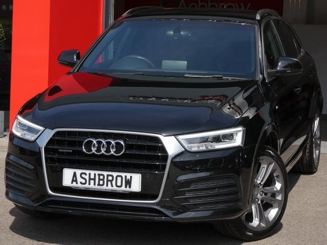 USED 2015 15 AUDI Q3 2.0 TDI QUATTRO S LINE PLUS 5d AUTO 185 S/S CAMBELT & WATER PUMP CHANGED, UPGRADE 19 INCH ALLOYS, SAT NAV, BLACK LEATHER ALCANTARA, PARKING SYSTEM FRONT & REAR WITH DISPLAY, CRUISE CONTROL, ELECTRIC HEATED POWER FOLDING DOOR MIRRORS, DAB RADIO, BLUETOOTH PHONE & MUSIC STREAMING, ELECTRIC TAILGATE, AUDI DRIVE SELECT, QUATTRO 4 WHEEL DRIVE, PRIVACY GLASS, SPORT SEATS WITH ELECTRIC LUMBAR SUPPORT, LEATHER MULTIFUNCTION TIPTRONIC STEERING WHEEL (PADDLE SHIFT), AUTO LIGHTS & WIPERS, AUTO DIMMING REAR VIEW MIRROR, AMI, DUAL CLIMATE A/C
