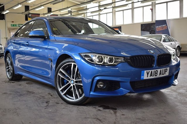 USED 2018 18 BMW 4 SERIES GRAN COUPE 3.0 435D XDRIVE M SPORT GRAN COUPE 4d 309 BHP + 1 OWNER  +  FULL SERVICE HISTORY + 12 MONTHS WARRANTY + HEATED LEATHER SEATS + SAT-NAV +